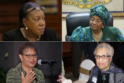 From top, left to right, Catherine Samba-Panza, Ellen Johnson Sirleaf, Karen Bass and Constance Newman.