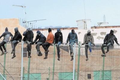 Des migrants escaladant une clôture