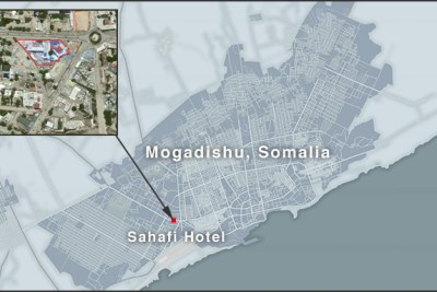 The blasts, which occurred within minutes of each other, targeted Mogadishu's Sahafi Hotel and its surroundings.