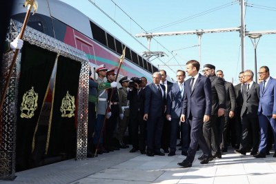 French President Emmanuel Macron at the inauguration of the high-speed train in Morocco.