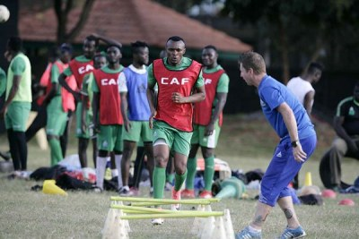 Gor Mahia coach Dylan Kerr issues instructions during a training session at the Parklands Sports Club on September 24, 2018.