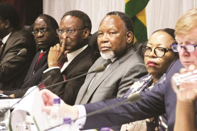 Commission chairperson Kgalema Motlanthe, third from right, and his team.