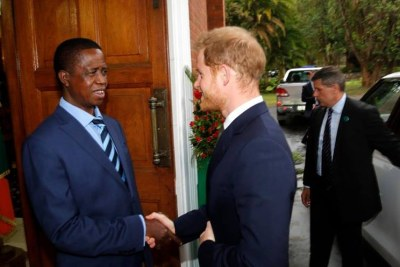 Prince Harry and President Edgar Lungu.