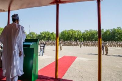 President Muhammadu Buhari in Maiduguri
