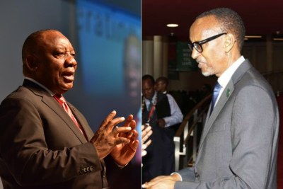 From left: South African President Cyril Ramaphosa and Rwandan President Paul Kagame (file photo)
