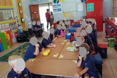 Schoolchildren at Laerskool Schweizer-Reneke.
