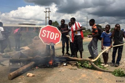 Police were deployed across Harare after protesters blocked a number of roads (file photo).