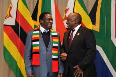 Presidents Emmerson Mnangagwa and Cyril Ramaphosa (file photo).