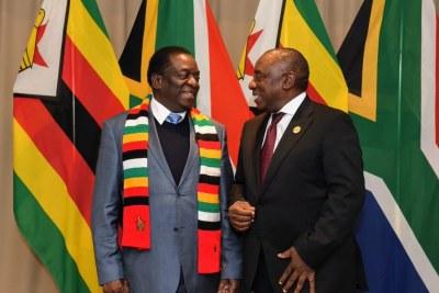 Presidents Emmerson Mnangagwa and Cyril Ramaphosa (file photo).