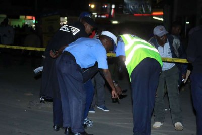 Police officers at the scene of explosion at Odeon Stage, Latema-Tom Mboya junction, Nairobi, on January 26, 2019.