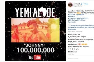 Congrats! Yemi Alade hits 100M views on YouTube.