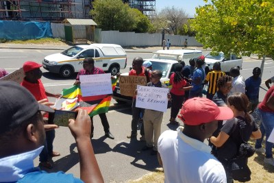 Some of the demonstrators outside Groote Schuur hospital in Cape Town.