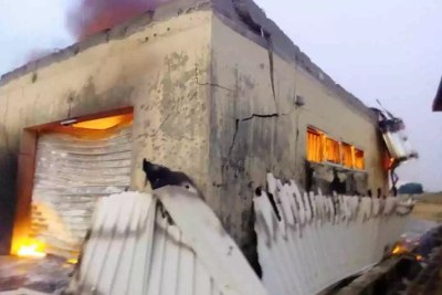 Plateau State INEC office in flames.