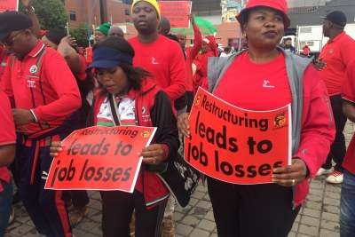 Cosatu members making their voices heard in the march against job losses, umemployment, corruption and crime