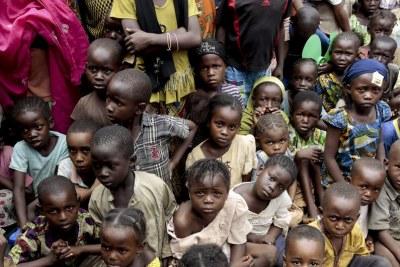 Des enfants déplacés à Bangui en république sud-africaine.