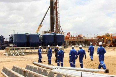 Visitors are taken on a tour of the oil rig at Ngamia 1 in Turkana County (file photo).