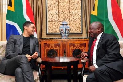 President Cyril Ramaphosa and comedian Trevor Noah