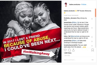 Babes Wodumo posted a photo of herself and late friend Karabo Mokoena who was killed by her boyfriend in 2017