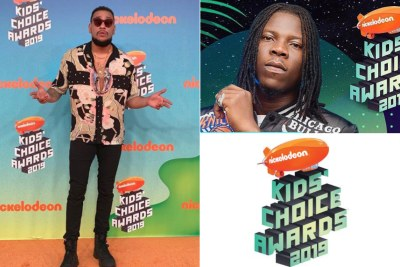 AKA, left, and Stonebwoy bag Nickelodeon Kids' Choice Award.