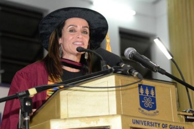 K. Riva Levinson, President and CEO, KRL International, delivering the Aggrey-Fraser-Guggisberg Memorial Lecture at the University of Ghana