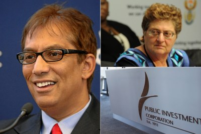 Left: South African doctor and businessman Iqbal Survé, head of Sekunjalo Investments. Top-right: Gill Marcus, former governor of the South African Reserve Bank. Bottom-right: Public Investment Corporation logo.