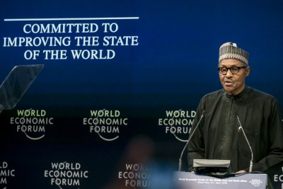 Muhammadu Buhari, President of Nigeria during the Session: Opening Plenary at the World Economic Forum on the Middle East and North Africa 2019, Jordan 2019.