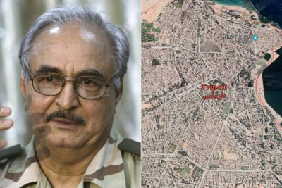 Left: Field Marshal Khalifa Belqasim Haftar. Right: Aerial view of Tripoli.