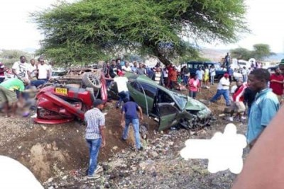 Wreckages of vehicles that crashed during a car racing competition between Kenyans and Tanzanians in Namanga, Tanzania, on April 21, 2019.