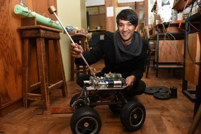 Dr Amir Patel has been investigating the properties of cheetahs' tails in relation to robotics.