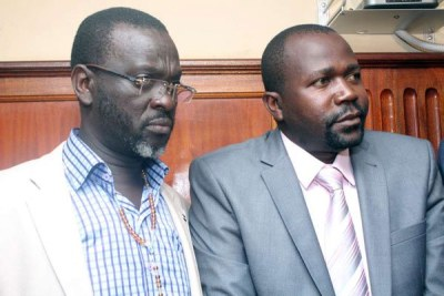 Caspal Obiero (left) and Michael Oyamo who are suspects in the murder of Sharon Otieno.
