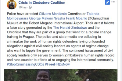 Police have arrested four top NGO leaders who the State has linked to a regime change plot with foreign support, according to a Facebook post by pro-democracy NGO, Crisis in Zimbabwe Coalition.