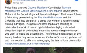 Zimbabwe Police Arrest Four Linked to 'Regime Change' - NGO