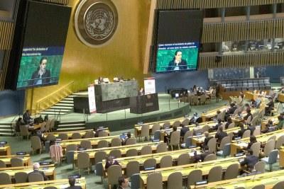 La salle de l'Assemblée générale des Nations Unies.