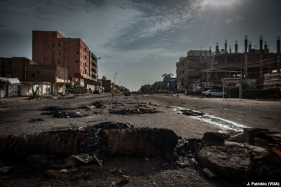 Roadblocks set up by protesters are seen in the Burri neighborhood to protest the June 2 massacre of at least 60 civilians, in Khartoum, Sudan.