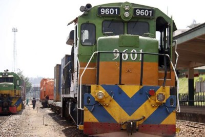 A Rift Valley Railways locomotive at the Kampala station, Uganda.