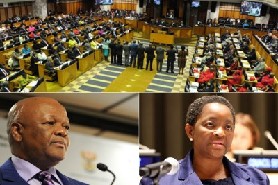 Top: Swearing-in ceremony of Members of Parliament. Bottom-left: Jeff Radebe. Bottom-right: Bathabile Dlamini.