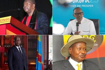 Le président angolais João Lourenço, le président rwandais Paul Kagame, le président congolais Felix Tshisekedi et le président ougandais Yoweri Museveni