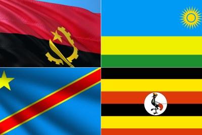 National flags of Angola, Rwanda, top, DR Congo, Uganda
