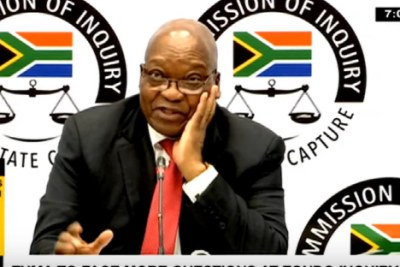 Former South African president Jacob Zuma at the State Capture Inquiry on July 15, 2019.