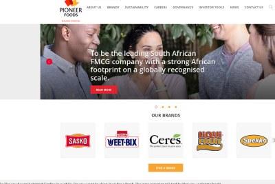 A screen grab of the Pioneer Foods website.