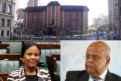 Top: North Gauteng High Court. Bottom-left: Public Protector Busisiwe Mkhwebane. Bottom-right: Public Enterprises Minister Pravin Gordhan.