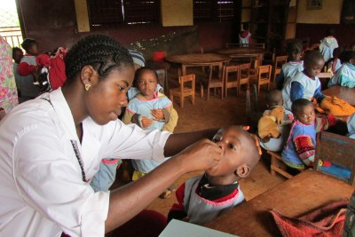 Vaccination team vaccinating children at a nursery school (file photo).