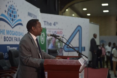 Mayor of Mogadishu Abdirahman Omar Osman at the opening of the Mogadishu Book Fair in Somalia's capital on August 15, 2018.