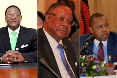 From left, MCP leader Lazarus Chakwera, President Peter Mutharika and UTM's Saulos Chilima.