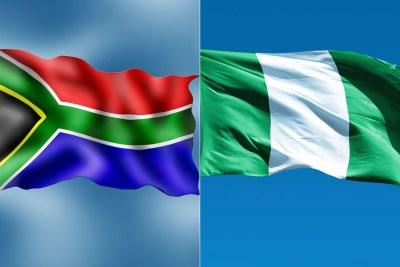 Drapeau RSA (à gauche) - Drapeau Nigeria (à droite)