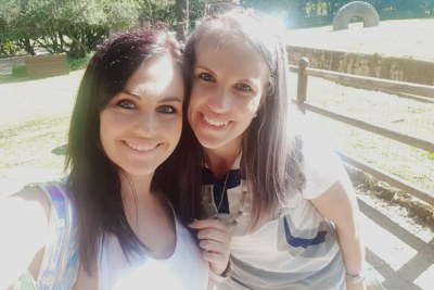 Angeline de Jager, left, with Tharina Human, one of the people accused of kidnapping six-year-old Amy'Leigh de Jager.