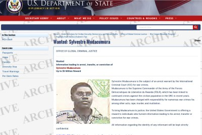 The U.S. Department of State's wanted notice for Sylvestre Mudacumura.