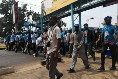 DPP supporters marching from Comesa Hall heading towards the Blantyre CBD after police dispersed HRDC demonstrators.