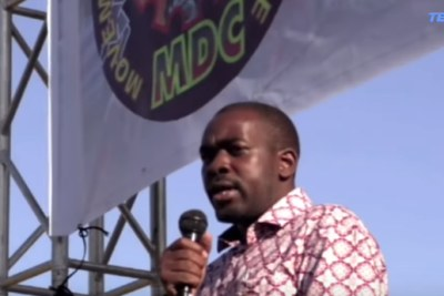 Nelson Chamisa addressing the MDC's 20th anniversary rally.