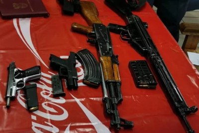 Illegal weapons seized during the funeral of an alleged KwaZulu-Natal drug dealer.